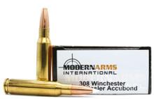 Modern Arms 308 Win 150gr Accubond LR Match Ammo - 20 Rounds