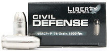Liberty Civil Defense 45ACP 78gr + Fragmenting HP Ammo - 20 Rounds