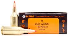 HSM 223 WSSM 50gr V-Max Ammo - 20 Rounds