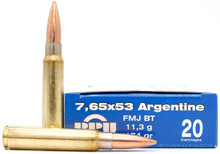 Prvi Partizan 7.65x53mm Argentine 174gr FMJ Ammo - 20 Rounds