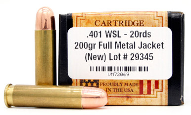 Ventura Heritage .401 WSL 200gr FMJ Ammo - 20 Rounds