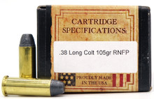 Ventura Heritage 38 Long Colt 105gr New RNFP Ammo - 50 Rounds
