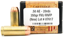 Ventura Heritage 50 AE 350gr FMJ Ammo - 20 Rounds