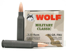 Wolf Military Classic 223 Rem 55gr FMJ Ammo - 500 Rounds