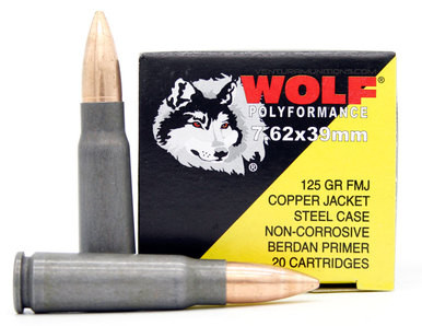 Wolf Polyformance 7.62x39 125gr Copper FMJ (Non-Magnetic) Ammo - 1000 Rounds