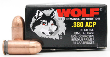 Wolf 380 ACP 92gr FMJ Ammo - 35 Rounds