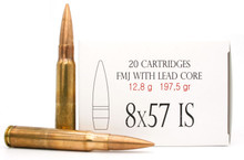 8x57 8mm Mauser IS 197.5gr FMJ Brass Cased Ammo - 20 Rounds