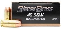 CCI Blazer Brass 40 S&W 165gr FMJ Ammo - 1000 Rounds