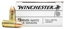 Winchester 9mm NATO 124gr FMJ Ammo - 50 Rounds