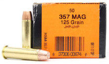 HSM 357 Magnum 125gr JHP UHP Ammo - 50 Rounds