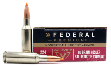 Federal Premium 224 Valkyrie 60gr Nosler Ballistic Tip Ammo - 20 Rounds
