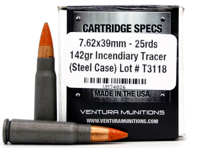Ventura Tactical 7.62x39 142gr Tracer Steel Cased Ammo - 25 Rounds