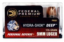 Federal Hydra-Shok DEEP 9mm 135gr HP Ammo - 20 Rounds