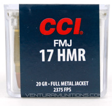 CCI 17 HMR 20gr FMJ Ammo - 50 Rounds