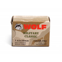 Wolf Military Classic 7.62x39mm 124gr FMJ Ammo - 20 Rounds