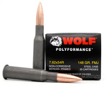 Wolf Polyformance 7.62x54r 148gr FMJ Ammo - 20 Rounds