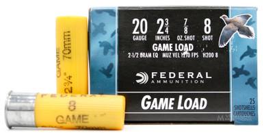 "Federal Game-Shok 20ga 2.75"" 7/8oz #8 Shot Ammo - 25 Rounds"