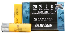 "Federal Game-Shok 20ga 2.75"" 7/8oz #8 Shot Ammo - 25 Rounds"