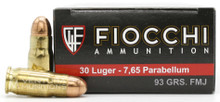 Fiocchi 30 Luger/7.65 Par 93gr FMJ Ammo - 50 Rounds