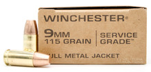 Winchester Service Grade 9mm 115gr FMJ Ammo - 50 Rounds
