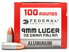 Federal Champion Aluminum 9mm 115gr FMJ Ammo - 100 Rounds