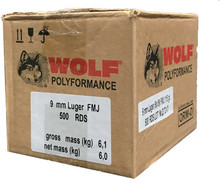 Wolf Polyformance 9mm 115gr FMJ Ammo - 500 Rounds