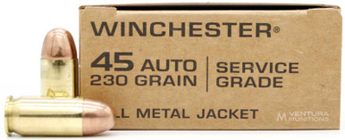 Winchester Military Service Grade 45ACP 230gr FMJ Ammo - 50 Rounds