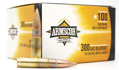 Armscor 300 Blackout 147gr FMJ Ammo - 100 Rounds