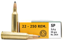 Sellier & Bellot 22-250 Rem Mag 55gr SP Ammo - 20 Rounds