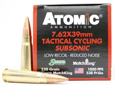 Atomic Tactical Cycling Subsonic 7.62x39mm 220gr HPBT Ammo - 50 Rounds