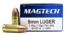 Magtech 9mm 115gr FMJ Ammo - 50 Rounds