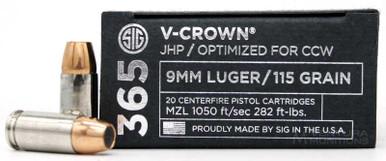 Sig Sauer 365 Elite Performance 9mm 115gr V-Crown JHP Ammo - 20 Rounds