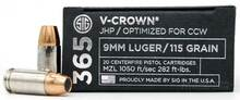 Sig Sauer 365 Elite Performance 9mm 115gr V-Crown JHP Ammo - 20 Rounds