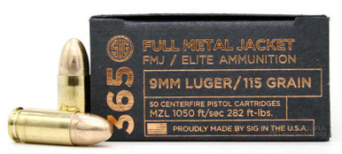 Sig Sauer 365 Elite Performance 9mm 115gr FMJ Ammo - 50 Rounds