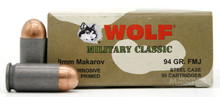 Wolf Military Classic 9x18 Makarov 94gr FMJ Ammo - 50 Rounds