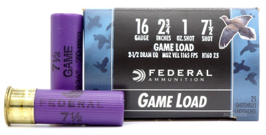 "Federal Game Shok 16ga 2.75"" 1oz #7.5 Lead Shot Ammo - 25 Rounds"