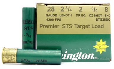 """Remington Premier STS 28ga 2.75"""" 3/4oz #8 Lead Shot Ammo - 25 Rounds"""