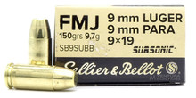 Sellier & Bellot 9mm Luger 150gr FMJ Subsonic Ammo - 50 Rounds
