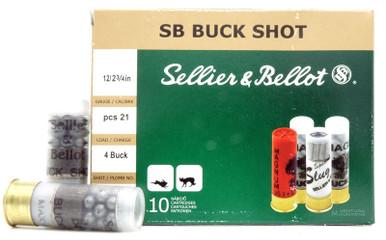 """Sellier & Bellot 12ga 2.75"""" #4 Buck 21 Pellet Ammo - 10 Rounds"""