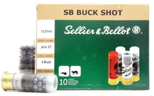 "Sellier & Bellot 12ga 2.75"" #4 Buck 21 Pellet Ammo - 10 Rounds"