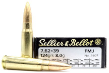 Sellier & Bellot 7.62x39mm 124gr FMJ Ammo - 20 Rounds