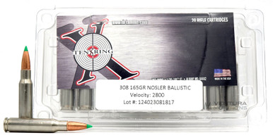 Ten Ring 308 Winchester 165gr Nosler BT Ammo - 20 Rounds