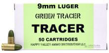 HVA 9mm 135gr Green Tracer Ammo - 50 Rounds