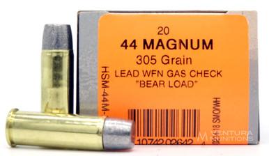 HSM 44 Rem Mag 305gr WFN Bear Load Ammo - 20 Rounds