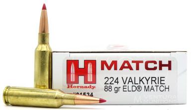 Hornady 224 Valkyrie 88gr ELD Match Ammo - 20 Rounds