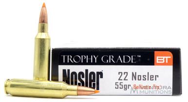 Nosler Trophy Grade Varmint 22 Nosler 55gr Spitzer Ammo - 20 Rounds