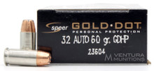 Speer Gold Dot 32 ACP 60gr JHP Ammo - 20 Rounds