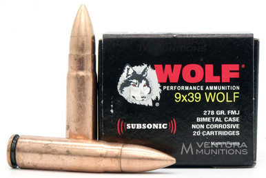 Wolf Performance 9x39 Wolf 278gr Subsonic FMJ Ammo - 20 Rounds