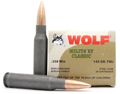 Wolf Military Classic 308 Win 145gr FMJ Ammo - 20 Rounds
