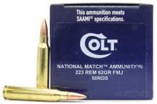 Colt National Match 223 Rem 62gr FMJ Ammo - 50 Rounds